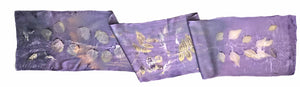 Hand-Dyed Nature's Diary Silk Scarf - Purple — By Artist Sara Griego