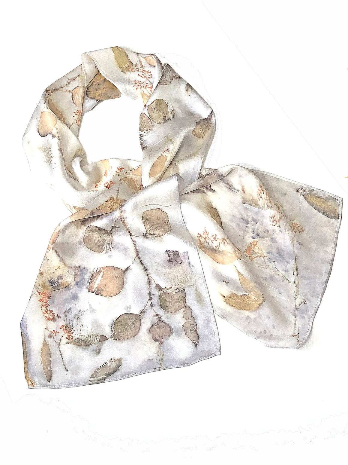 Hand-Dyed Nature's Diary Silk Scarf - Snow Cap White — By Sara Griego