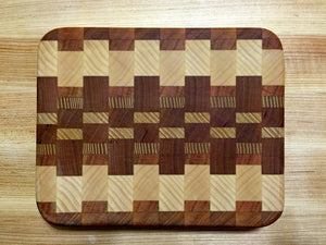 EDGE OF WOODS — Cherry, Mahogany, Ash & Walnut Inlaid End-Grain Cutting Board