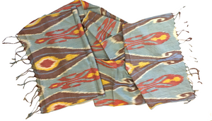 Handy-dyed, handwoven, silk and cotton authentic Ikat scarf by Master Weaver Rasuljon Mirzaahmedov