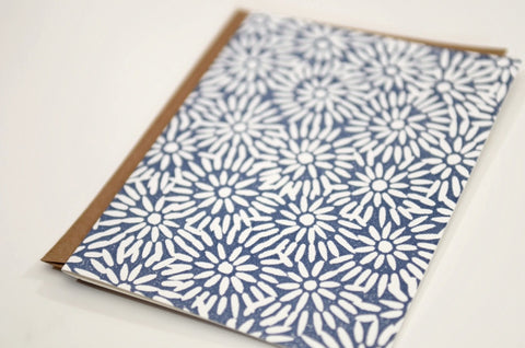 HANDCRAFTED BY KATHARINE WATSON — Daisy Bursts — Original Hand-carved Block Cut, Handprinted Boxed Set of 6 Cards