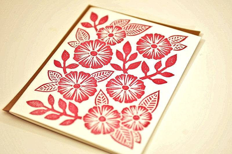 HANDCRAFTED BY KATHARINE WATSON — Morning Glories — Original Hand-carved Block Cut, Handprinted Boxed Set of 6 Cards