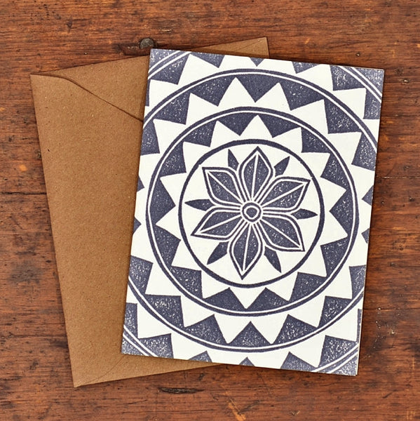 Original Hand Block Cut Handprinted Moroccan Tile Set of 6 Notecards