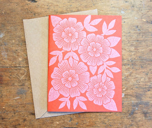 Original Hand-carved Block Cut, Handprinted Set of 6 Note Cards