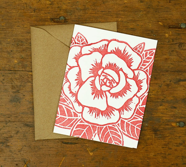 Original Hand Block Cut Handprinted Box Set of 6 Cards - A Rose is a Rose