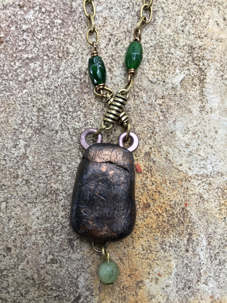 ARTIST HANDCRAFTED — Window to the Past Necklace with Excavated 1830s Blue Plate Shard and African Jade Beads — By Past Object Art