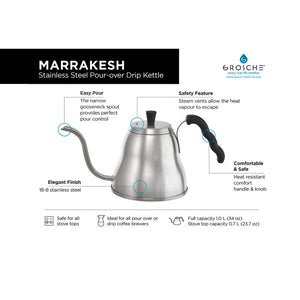 Marrakesh Stainless Steel Pour-Over Drip Kettle by Grosche