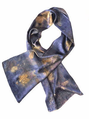 Hand-Dyed Nature's Diary Silk Scarf - Sangre de Cristo Blue — By Artist Sara Griego