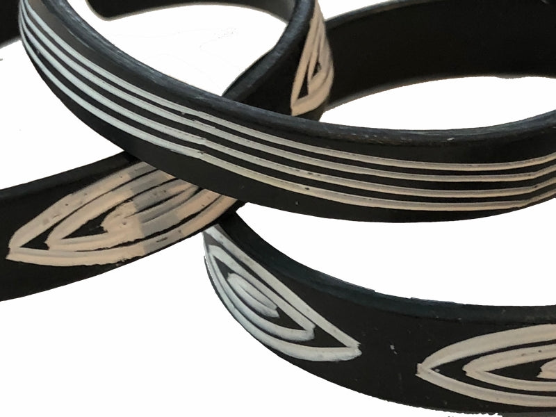 Hand-etched Okavango Recycled PVC Bracelets - Set of 3 — By OMBA - Unique Namibia Arts