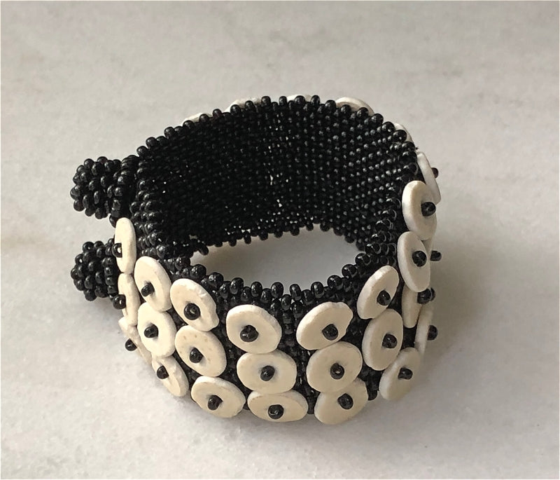 HANDCRAFTED IN NAMIBIA — BLACK SKOONHEAD OSTRICH EGG SHELL BRACELET — BY OMBA Arts Trust