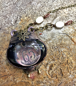 ARTIST HANDCRAFTED — Window to the Past Necklace with Excavated Antique Room Key Tag and Antique Brass Beads — By Past Object Art