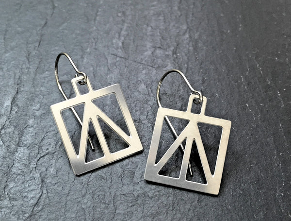ARTIST HANDCRAFTED — Square Peace Truss Earrings - Audra Azoury