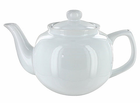 Price & Kensington White Gloss 6-Cup English Teapot with Stainless Steel Teapot Filter