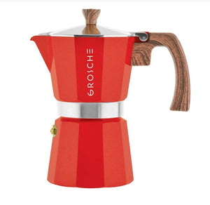 Red Milano Italian 6-Cup Stovetop Espresso Coffee Maker / Moka Pot — By GROSCHE