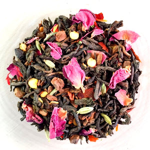Sandia Rose  — Organic Pu-erh, Cinnamon, Rose Petals, Red Chile, Fennel Seed, Vanilla Bean Tea - 2 ounce bag — By tea.o.graphy