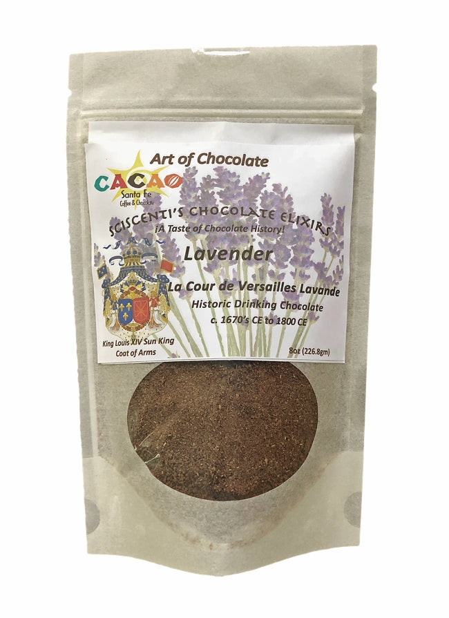 SCISCENTI'S CHOCOLATE ELIXIR - LA COUR de VERSAILLES LAVANDE / LAVENDER  DRINKING CHOCOLATE - 8 OUNCES  — CREATED BY MARK SCISCENTI FOR ART OF CHOCOLATE