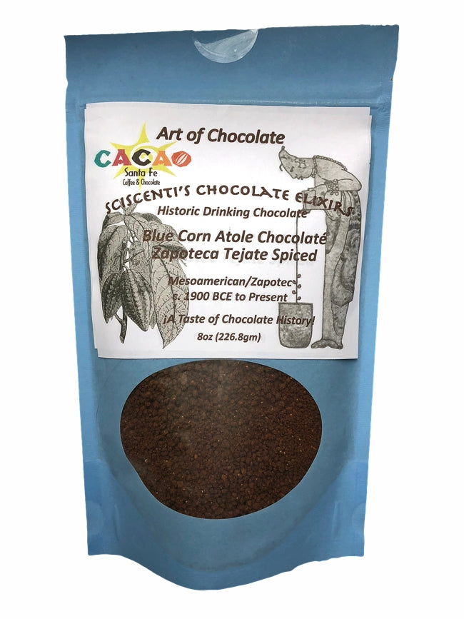 ARTISAN CRAFTED IN SANTA FE — Sciscenti's Chocolate Elixir - Organic Blue Corn Atole Chocolate Zapotec Tejate Spiced Historic Drinking Chocolate  — Created by Mark Sciscenti for Art of Chocolate