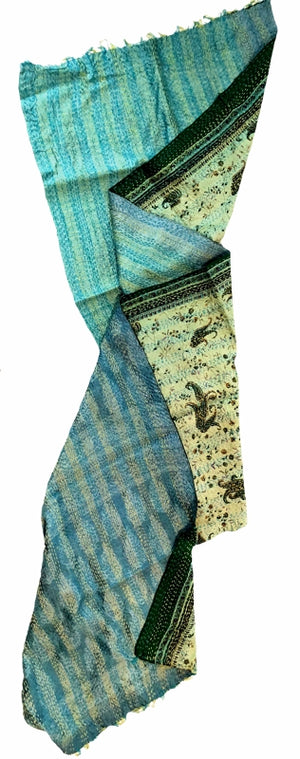 Double-side Silk Sari Kantha Stitched Scarf Green Blue Paisley The Red Sari