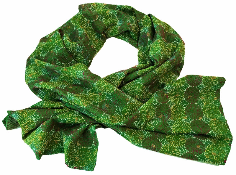 Silk Sari Circle Kantha Stitched Scarf (Greens, Pink, Gold, White) — The Red Sari