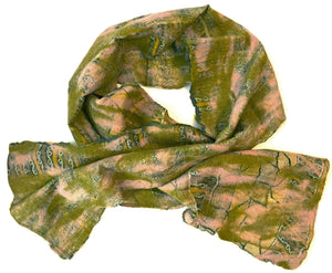 Wool and Silk Felted Vintage Sari Scarf (Pink, Green, Gold, Cream) — The Red Sari