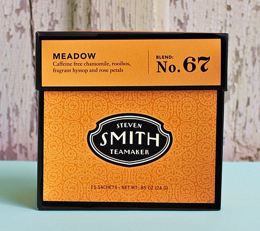 HANDCRAFTED — Steven Smith Teamaker — MEADOW Egyptian Chamomile, Rooibos, Rose Petals and More Herbal Infusion — Varietal No. 45 — Tip Top Gift Box — 15 Sachets