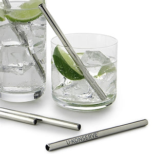 U KONSERVE STAINLESS STEEL MINI STRAWS — 4 PACK