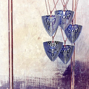 Vintage Hand Cut Blue Willow China Pendant