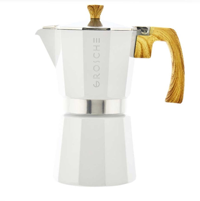 White Milano 6-Cup Italian Stovetop Espresso Coffee Maker / Moka Pot — By GROSCHE