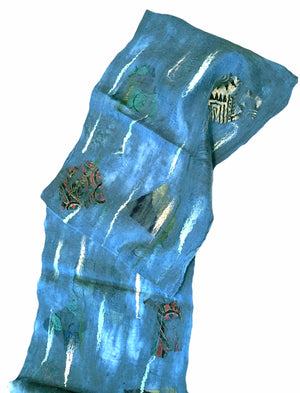 Wool and Silk Felted Sari Collage Scarf (Blue and Various Colors/Patterns) — The Red Sari