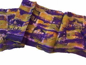 Wool and Silk Felted Vintage Sari Scarf (Purple, Green, Gold, Cream) — The Red Sari