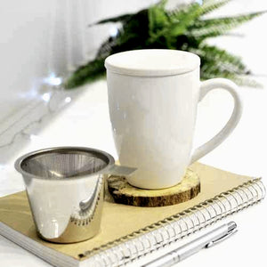 Kassel Ceramic Tea Infuser Mug with Stainless Steel Infuser - 11 ounces - WHITE — By Grosche