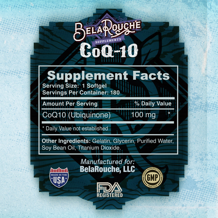 CoQ10 | 100% Pure and Natural | Coenzyme Q10 Heart Health | 100mg | 120 Softgels | BelaRouche Supplements
