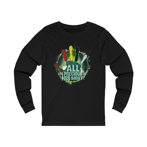 All Are Precious in His Sight (Green) Unisex Jersey Long Sleeve Tee - Red Bear Brands