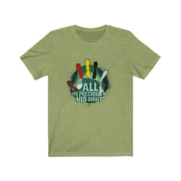 All Are Precious in His Sight (Green) Unisex Jersey Short Sleeve Tee - Red Bear Brands