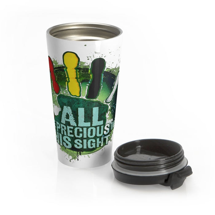 ALL Are Precious in HIS Sight (white) | Stainless Steel Travel Mug - Red Bear Brands