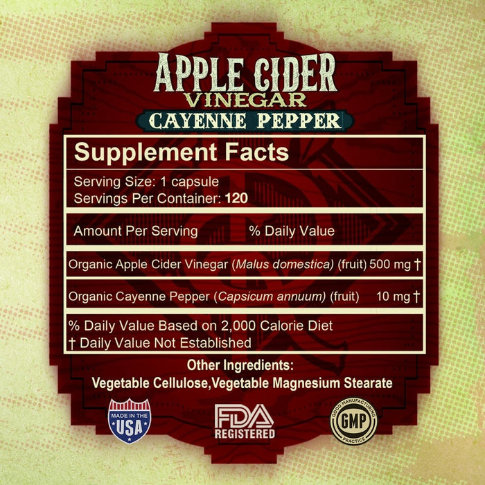 Apple Cider Vinegar Cayenne Pepper 100% Pure 500mg - Red Bear Brands