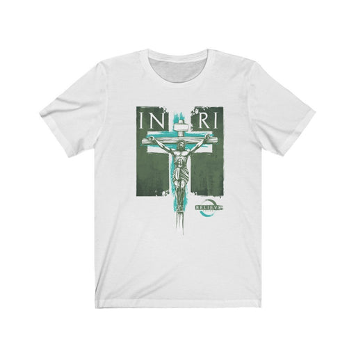 Believe | INRI Cross Design | Light Colored Unisex Jersey Short Sleeve Tee - Red Bear Brands