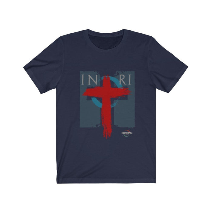 Believe INRI Cross Design on Unisex Jersey Short Sleeve Tee - Red Bear Brands