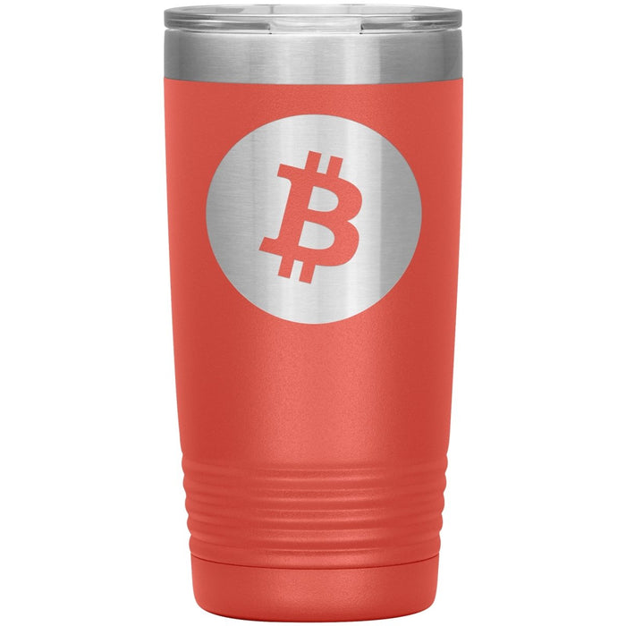Bitcoin Tumbler 20oz Laser Engraved Logo BTC Cryptocurrency Travel Mug - Red Bear Brands
