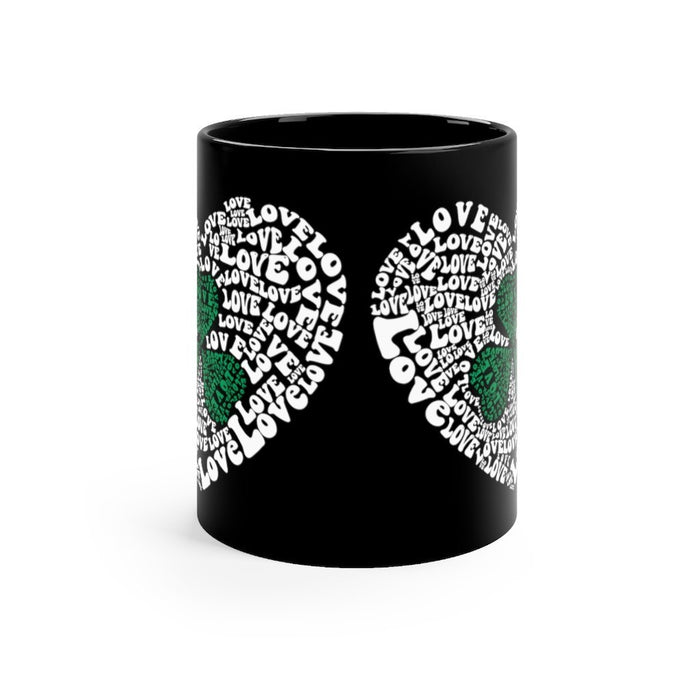 Black mug 11oz - Irish, Shamrock, St. Patricks Day Love - Red Bear Brands