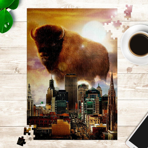 Buffalo New York Skyline Golden Buffalo NY Puzzle - Red Bear Brands