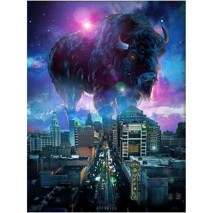 Buffalo NY Skyline in Blue on Canvas Posters - Red Bear Brands