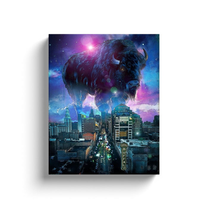 Buffalo, NY Skyline in Blue on Canvas Wraps - Red Bear Brands