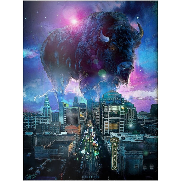 Buffalo NY Skyline in Blue Print on Metal - Red Bear Brands