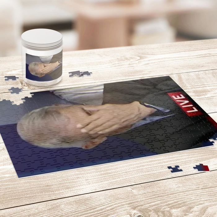 Classic Fauci Hand on Face Facepalm Puzzle - Red Bear Brands