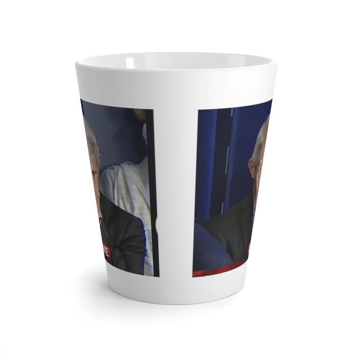 Classic Fauci Hand on Face Moment Captured on a Latte mug - Red Bear Brands
