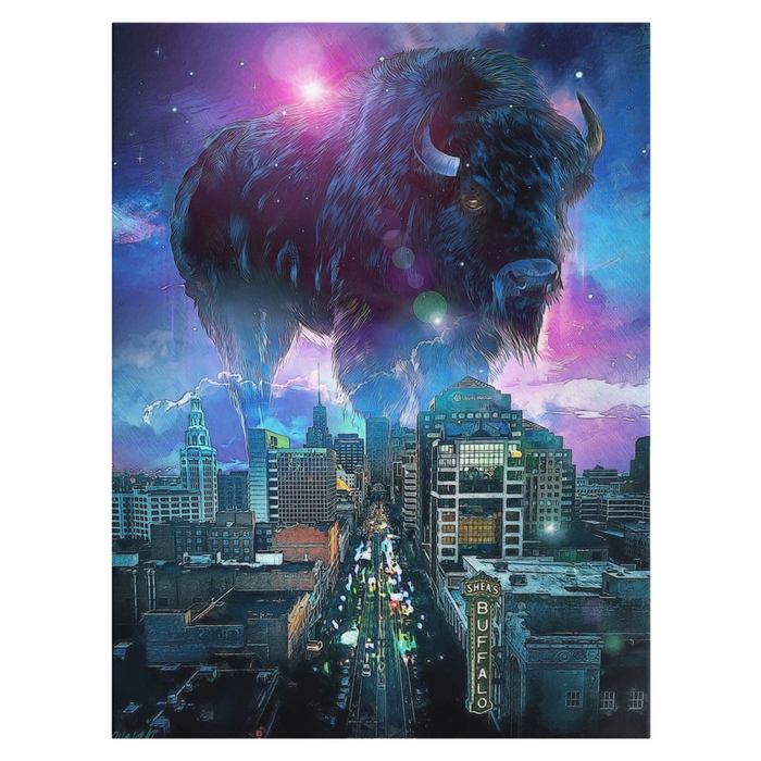 Buffalo, NY Skyline in Blue on Canvas Wraps