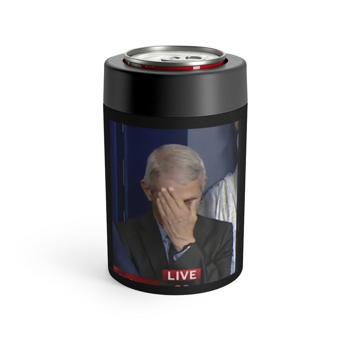 Fauci Facepalm on Black 12oz Can Holder Coozie - Red Bear Brands