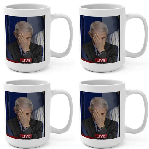 Four Pack of 15oz Mugs | Fauci Facepalm 2020 | Hand on His Face - Red Bear Brands