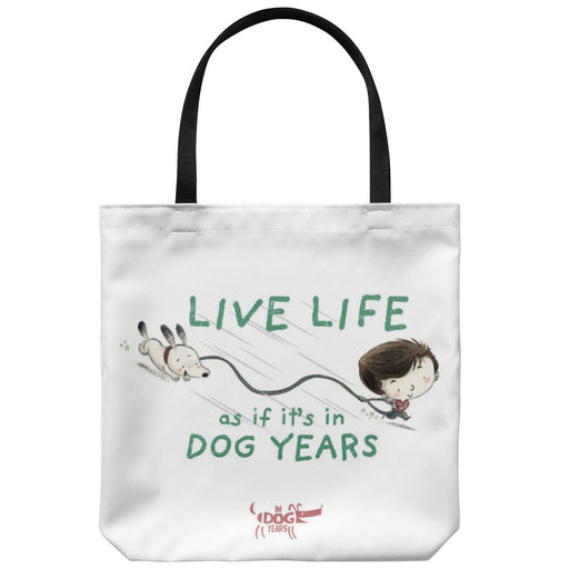 "In Dog Years - Kid Living in Dog Years Tote Bag 18"" x 18"" - Red Bear Brands"